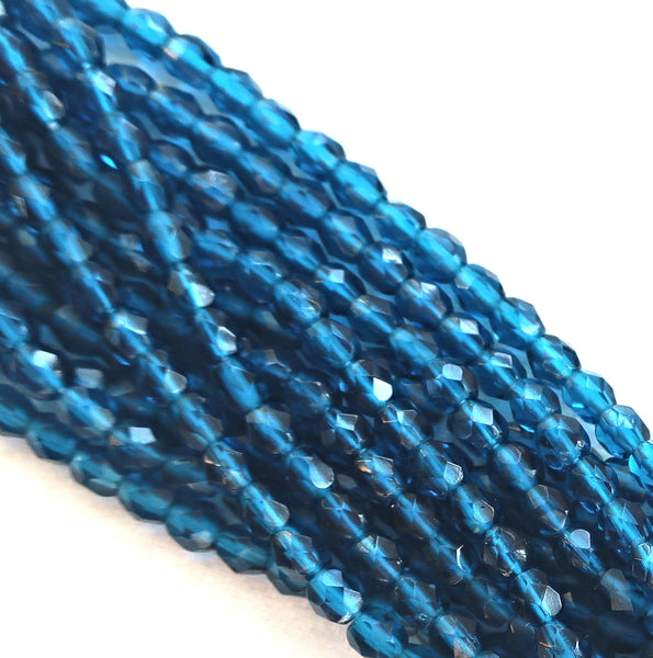 Lot of 50 4mm Capri Blue Czech glass beads, firepolished faceted round beads C4550 - Glorious Glass Beads
