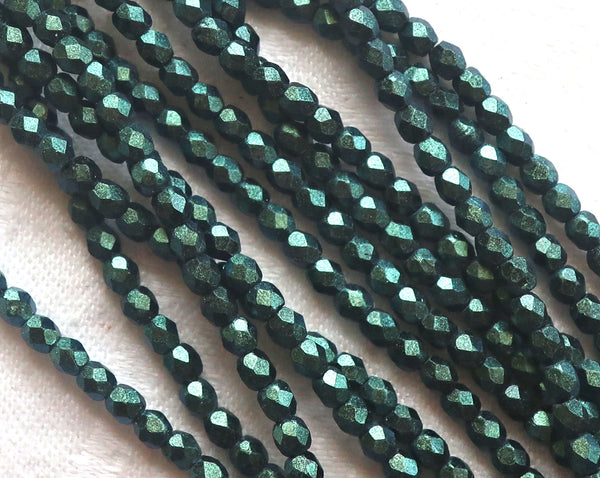 Lot of 50 3mm Czech glass beads, poluchrome sueded matte metallic forest ot hunter Green faceted, round, firepolished beads C3601