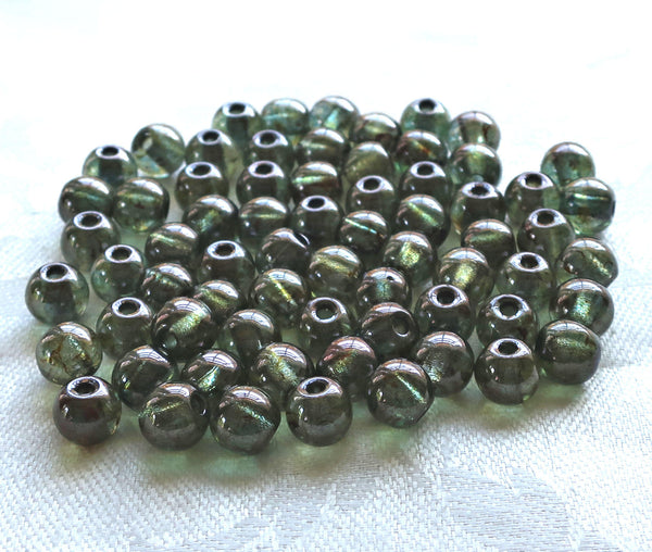 25 8mm Czech glass big hole beads, Lumi Green smooth round druk beads with 2mm holes C8501