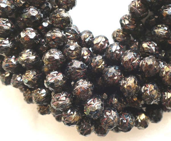 Twelve Opaque Jet Black Bronze Picasso 7 x 8mm Rosebud beads, faceted, firepolished, antique cut, Czech glass beads C2901 - Glorious Glass Beads