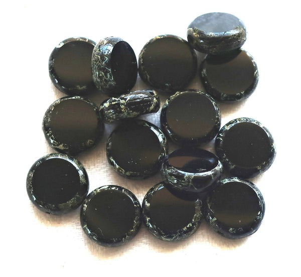 15 black Czech glass coin, disc beads, flat round beads, opaque jet black beads with a picasso finish 59101