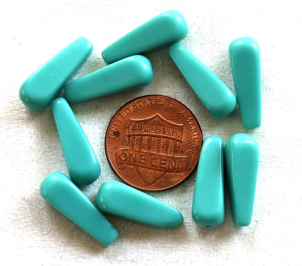 Lot of ten 18 x 7mm opaque Turquoise GreenCzech glass squared long teardrop beads, elongated tear drops 02101