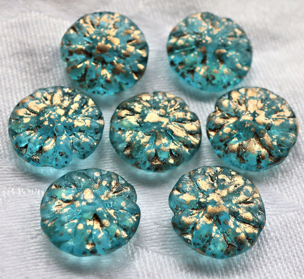 Five Czech glass Dahlia flower beads, Transparent Aqua Blue with gold spatter - 14mm floral disc or coin beads C0905 - Glorious Glass Beads