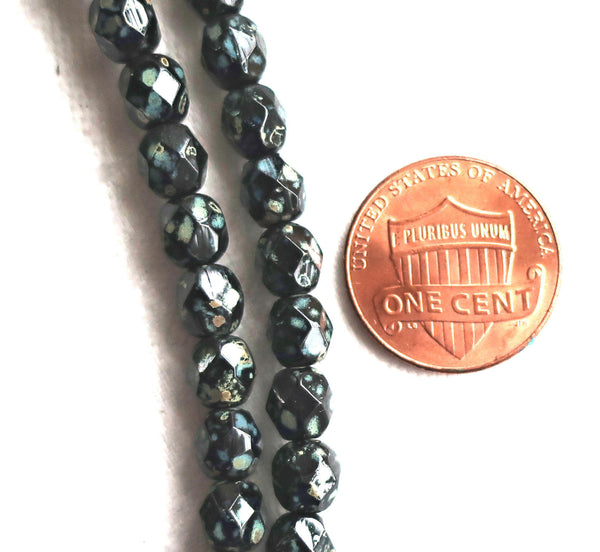 30 6mm Czech glass black picasso druk beads, opaque rustic black beads with a full picasso coat, smooth round druks C8601 - Glorious Glass Beads