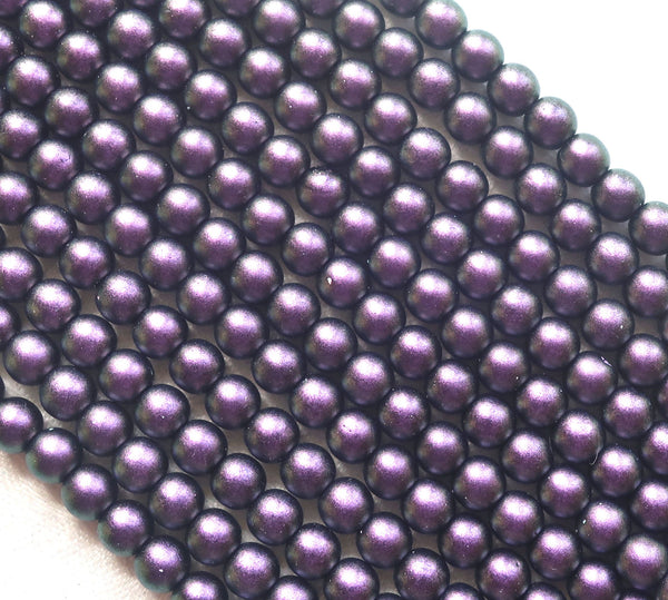 Lot of 50 6mm Czech glass druk beads, Polychrome Black Currant, deep purple smooth round druks with a mette finish C81101