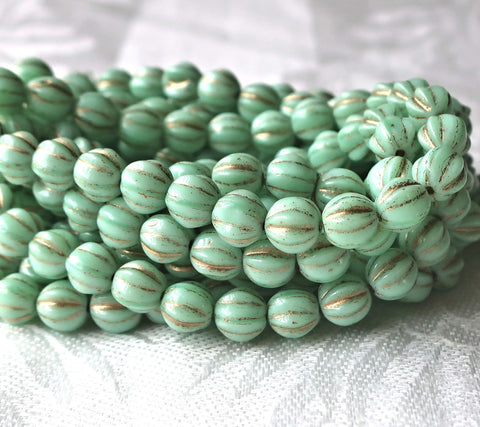 25 Czech glass melon beads, 6mm opaque mint green with gold accents, pressed striped beads C0901
