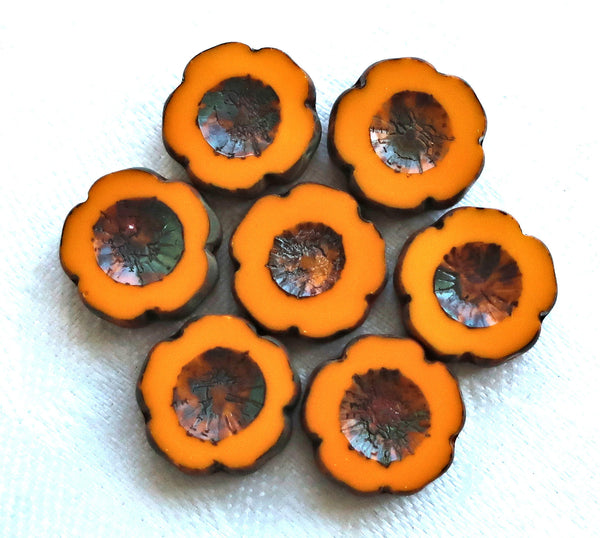 Five 5 Czech glass flower beads. 14mm table cut, carved, opaque pumpkin orange picasso Czech glass Hawaiian flower beads C0805