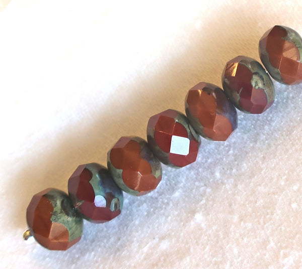 25 Czech glass faceted puffy rondelle beads, opaque rusty red & orange picasso mix, 6 x 8mm rustic, earthy, rondelles, sale price 55101 - Glorious Glass Beads