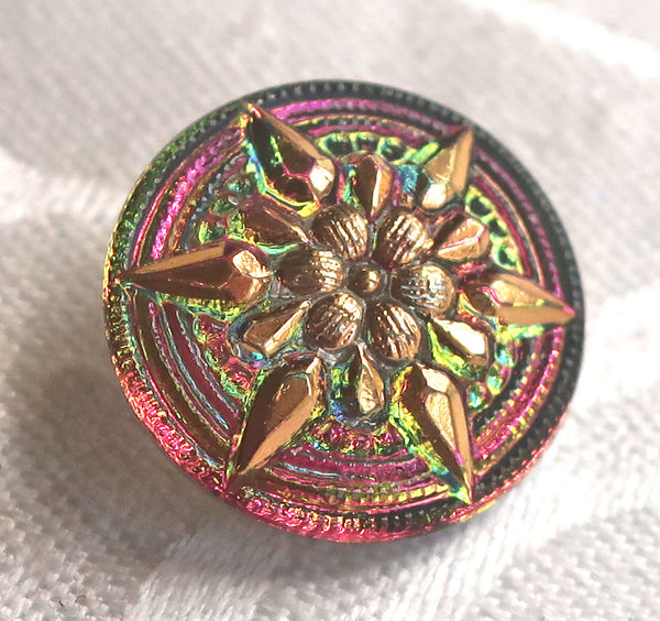 One 18mm Czech glass button, with a gold raised star, iridescent pink & green decorative shank button 89101