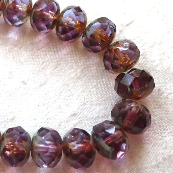Lot of 25 Czech glass faceted puffy rondelles, 6 x 8mm transparent marbled amethyst, purple & lavender picasso, rondelle beads 00301