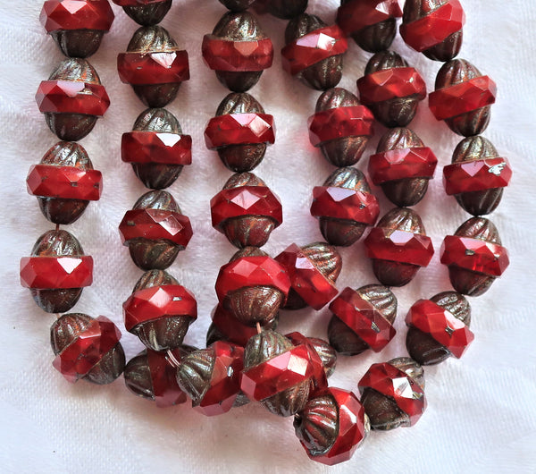 Five Czech glass faceted turbine beads, 11 x 10mm, translucent bright red with a picasso finish C60101