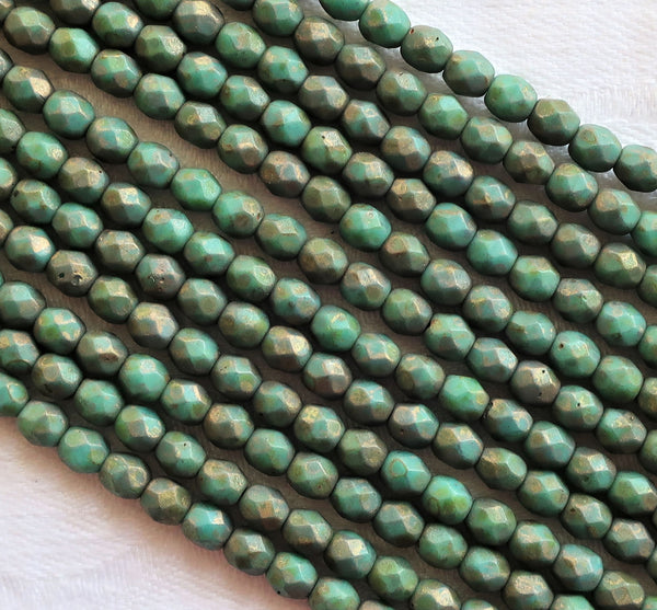 Lot of 50 4mm Matte Persian Turquoise Copper Picasso Czech glass beads, firepolished, faceted round beads, C5501 - Glorious Glass Beads
