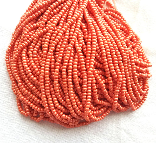24 grams Czech 6/0 glass seed beads - opaque matte tangerine orange pearl size 6 Preciosa Rocaille 4mm spacer beads - C0031