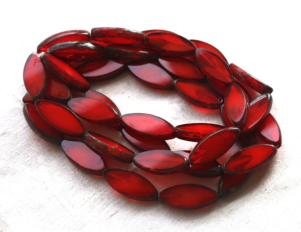 Six 17 x 8mm Czech glass spindle beads, translucent, marbled bright orange / red table cut, picasso, almond shaped tube beads C02101
