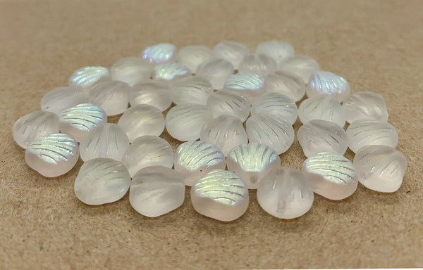 Twenty Czech glass seashell, fan or clam beads - 8mm frosted crystal AB shell beads - C0058