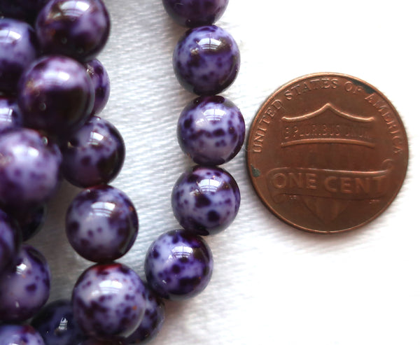 Lot of 25 8mm Czech glass druks, - opaque speckled cobalt blue smooth round druk beads C5701 - Glorious Glass Beads