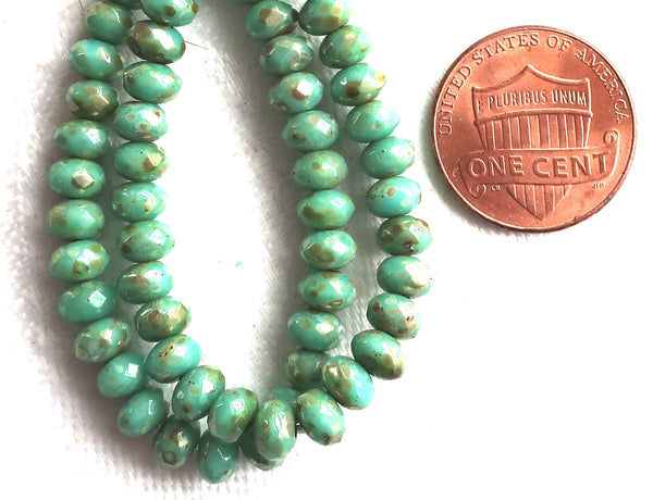 30 small turquoise blue green puffy rondelle beads with a metallic picasso finish, 3mm x 5mm faceted Czech glass rondelles 53101 - Glorious Glass Beads