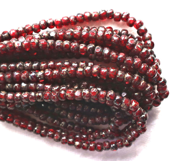 50 4 x 3mm, Tricut, Tri-cut, 3 cut Round Czech glass beads, Garent Red picasso, earthy, rustic 6/0 seed beads C66101 - Glorious Glass Beads