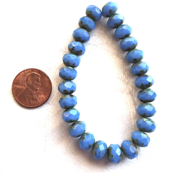 lot of 25 Czech glass faceted puffy rondelle beads, Opaque Cornflower Blue blue Picasso 6 x 8mm rondelles 00301