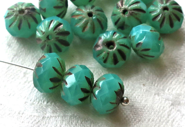Ten Czech glass cruller beads, 7 x 10mm carved, faceted milky green turquoise picasso rondelles, sale price 08301 - Glorious Glass Beads