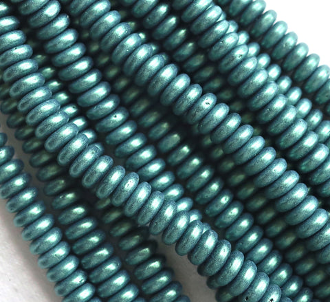 Lot of 50 6mm Czech glass rondelle beads, matte metallic light green suede flat spacers or rondelles C5701