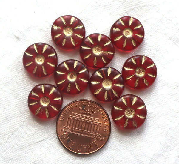 Ten 12mm Czech glass flower beads. round, table cut, carved, light garnet, ruby red daisy, coin, disc or wheel beads w/ gold accents C9901 - Glorious Glass Beads