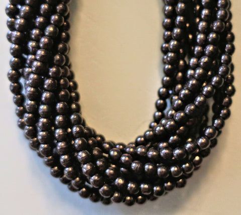 Lot of 100 3mm Dark Bronze Czech glass druks, smooth round dark brown druk beads C0601