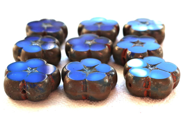 Lot of five 16mm table cut, carved Czech glass flower beads, opaque blue and white marbled glass with silver picasso accents C59101 - Glorious Glass Beads