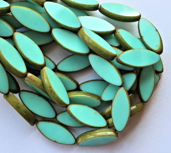 Ten 7 x 18mm, Sea-foam Green oblong, oval, table cut, picasso Czech glass spindle bead, large opaque almond shaped long tube beads C50201