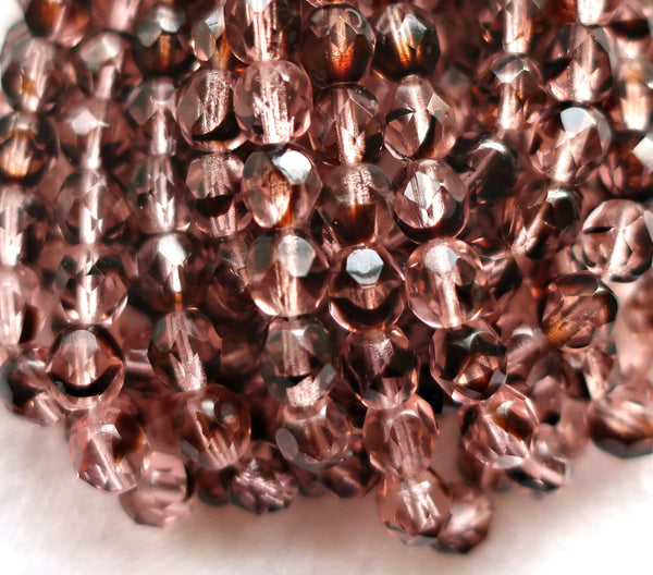 Lot of 25 6mm Czech glass beads - Rosaline Tortoise - pink & brown - round firepolished faceted beads 6525 - Glorious Glass Beads