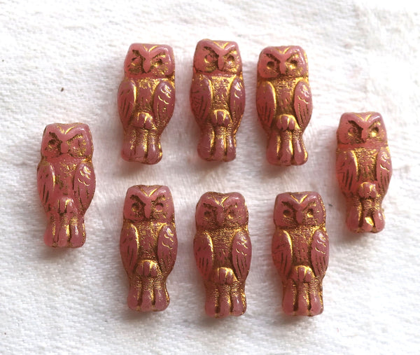 Lot of 10 small Czech glass owl beads, Rose Gold, translucent rosaline pink with a gold wash, two sided earring beads, 15mm x 7mm 0801