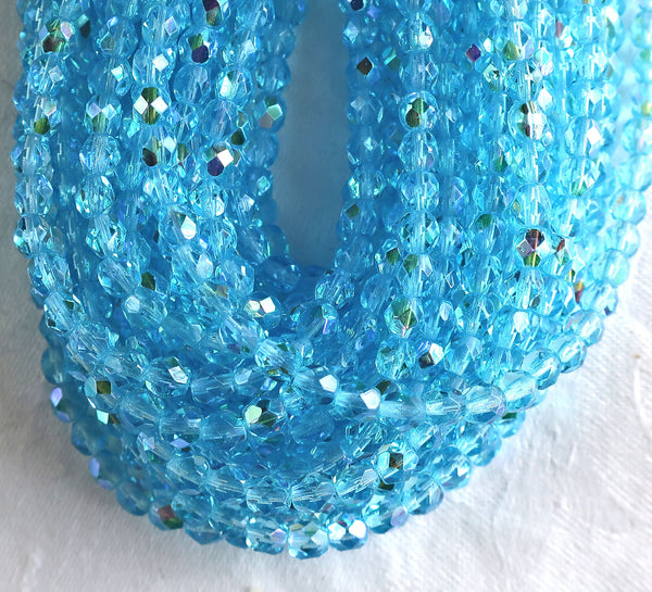 Lot of 50 4mm Aqua Blue AB Czech glass beads, firepolished faceted round beads C8501