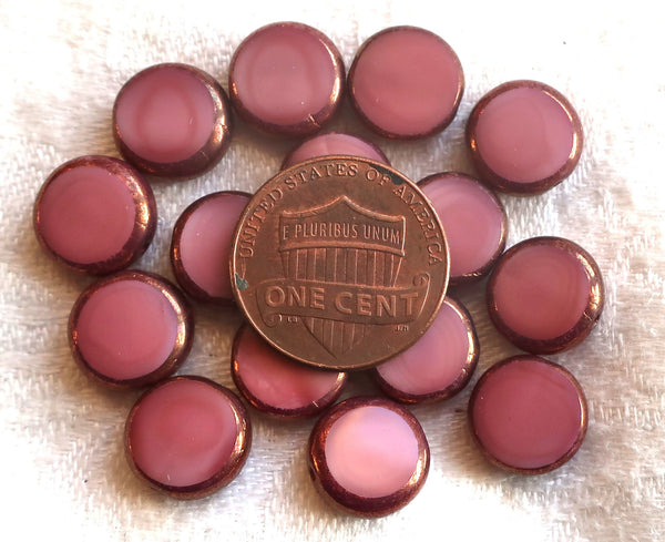 15 Czech glass coin or disc beads - 11mm table cut opaque pink silk w/ bronze picasso accents along the edges C63401 - Glorious Glass Beads