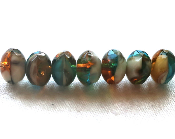 25 Czech glass puffy rondelles, 6 x 8mm transparent & opaque rustic, earthy color mix, faceted puffy rondelle beads, sale price 80101 - Glorious Glass Beads