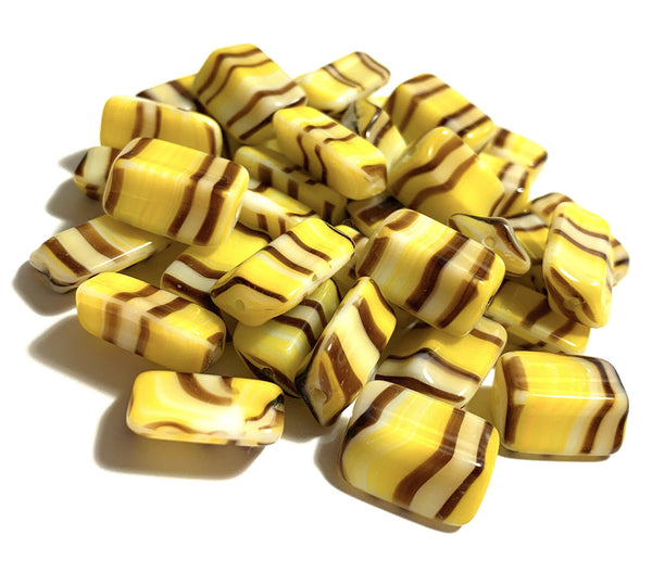 Six Czech glass rectangle beads - 16 x 12mm yellow, brown, and white striped - 4-sided diamond shaped large, chunky rectangle beads C0005