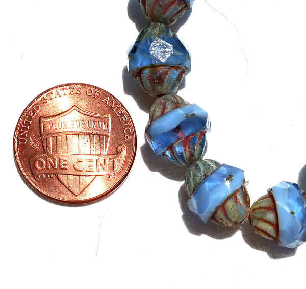 Six Czech glass turbine beads, 11 x 10mm transparent & opaque sapphire blue Czech glass beads with a picasso finish, saturn beads C02101