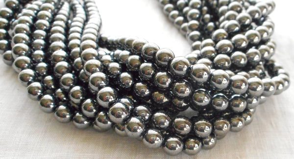 Lot of 50 Czech glass druks - 6mm Gray Metallic Hematite smooth roundround druk beads,C9850 - Glorious Glass Beads