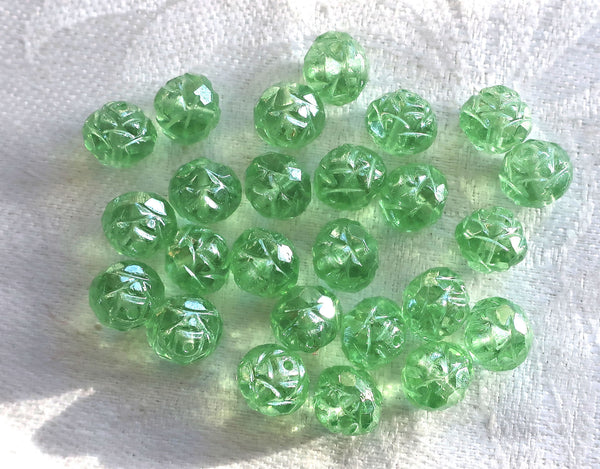 Twelve Luster Peridot Green 7 x 8mm Rosebud beads, faceted, firepolished, antique cut, Czech glass beads C2701 - Glorious Glass Beads