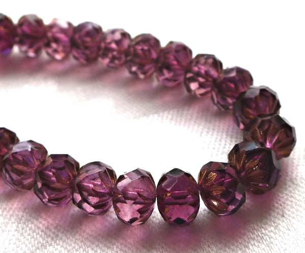Five Czech glass faceted cruller beads. 6 x 9mm transparent amethyst, purple with a gold wash finish, carved donut beads 06701 - Glorious Glass Beads