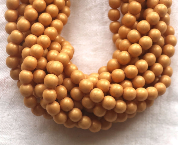 Lot of 50 6mm Czech glass druks, opaque beige, light brown, Pacifica Ginger smooth round druk beads 03150