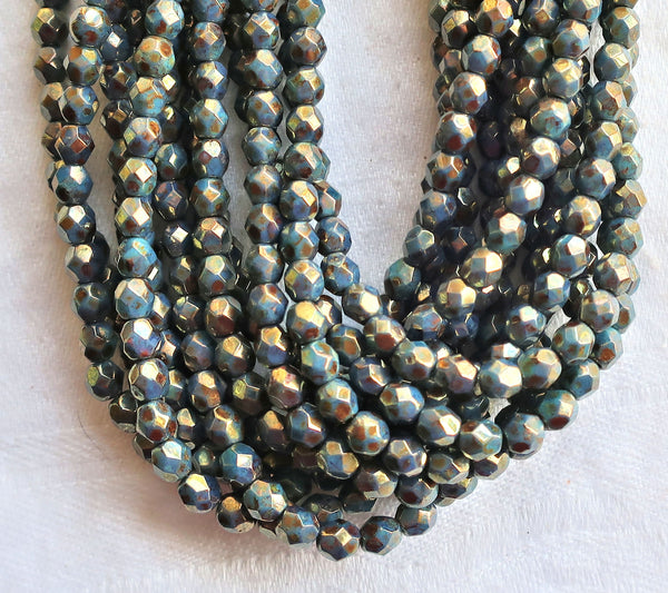 Lot of 50 4mm Persian Turquoise Bronze Picasso Czech glass beads, firepolished, faceted round beads, C0825