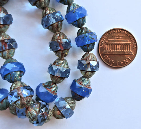 Ten Czech glass turbine beads - 11 x 10mm light and dark sapphire blue mix with a picasso finish C08101