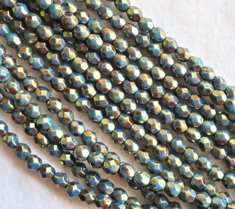 Lot of 50 4mm Persian Turquoise Bronze Picasso Czech glass beads, firepolished, faceted round beads, C0825 - Glorious Glass Beads