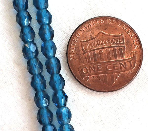 Lot of 50 4mm Capri Blue Czech glass beads, firepolished faceted round beads C4550