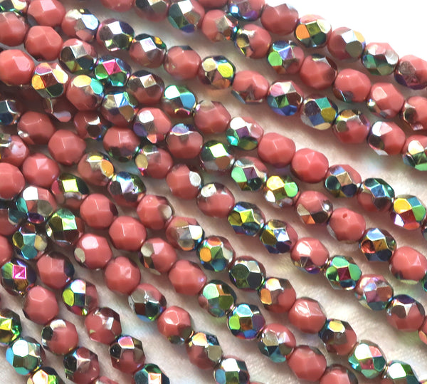 Lot of 25 6mm Czech glass beads, opaque pink vitral firepolished, faceted round beads, C8725