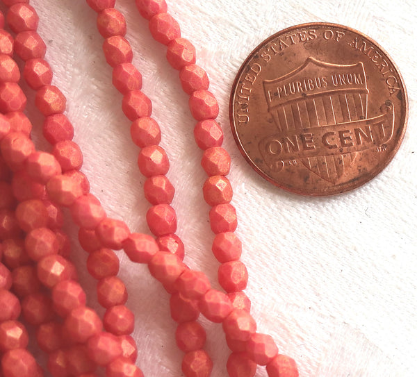 lot of 50 3mm Opaque Pacifica Strawberry Red Czech glass beads, faceted, round, firepolished beads C9550