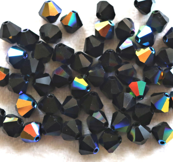 Lot of 24 6mm Czech opaque Jet Black AB glass faceted bicone beads, Preciosa Crystal black AB bicones 60101 - Glorious Glass Beads