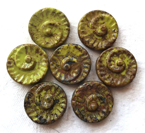 Six 18mm large Czech glass snail fossil beads, opaque avocado green with a picasso finish, earthy, rustic coin or disc focal beads C0616