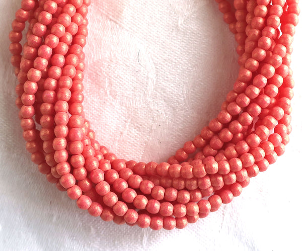 Lot of 100 3mm Pacifica Watermelon red, pink, Czech glass druks; pressed glass, smooth, round druk beads C7701