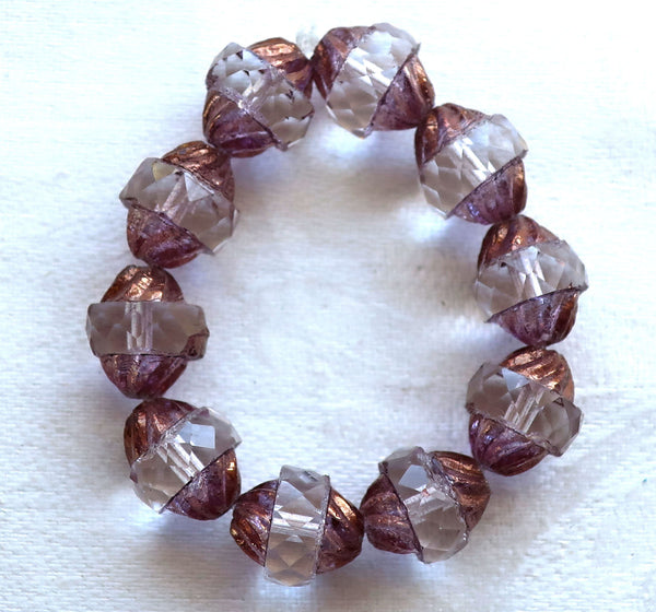 Ten Czech glass turbine beads, 11 x 10mm crystal & lavender, lilac beads with a bronze picasso finish, 292101